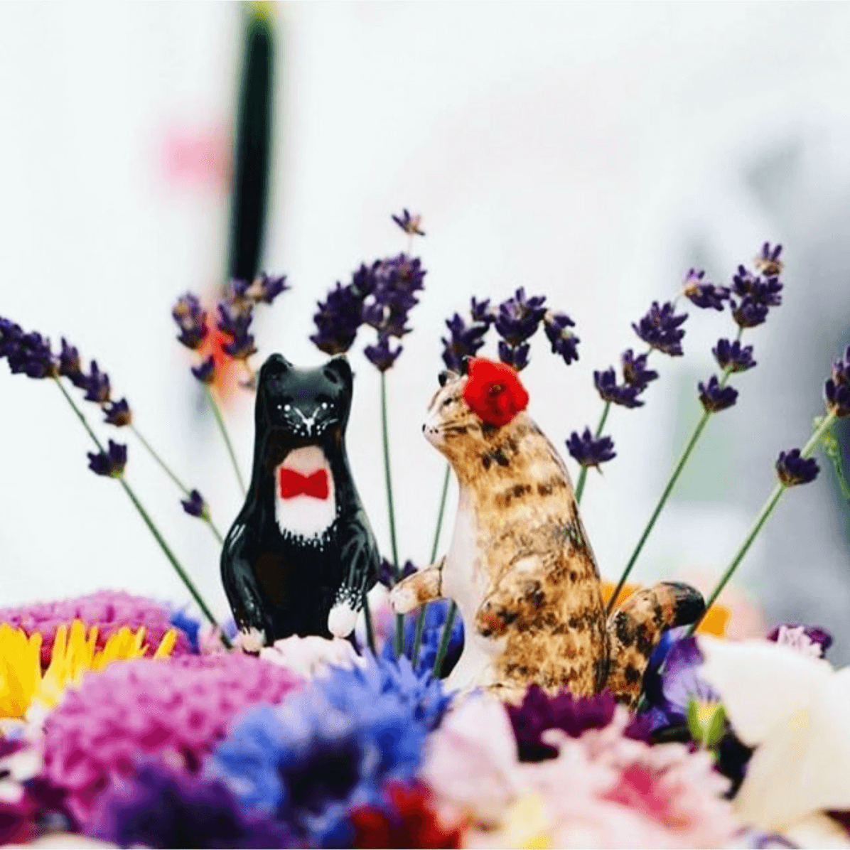 Little Birdy Cat Wedding Cake Toppers