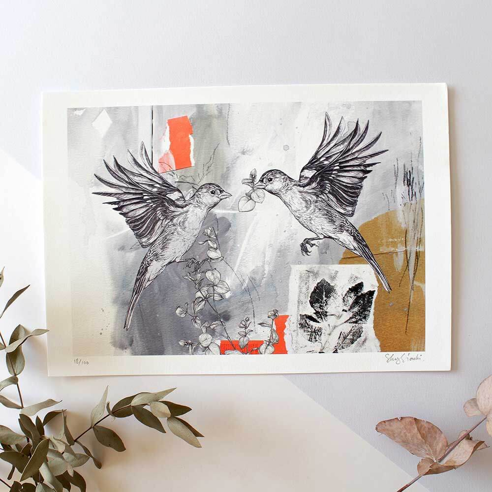 Chaffinch-Pair-Giclee-Print-Sky-Siouki