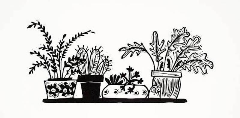 Melanie Wickham Tiny WIndowsill Garden Linocut