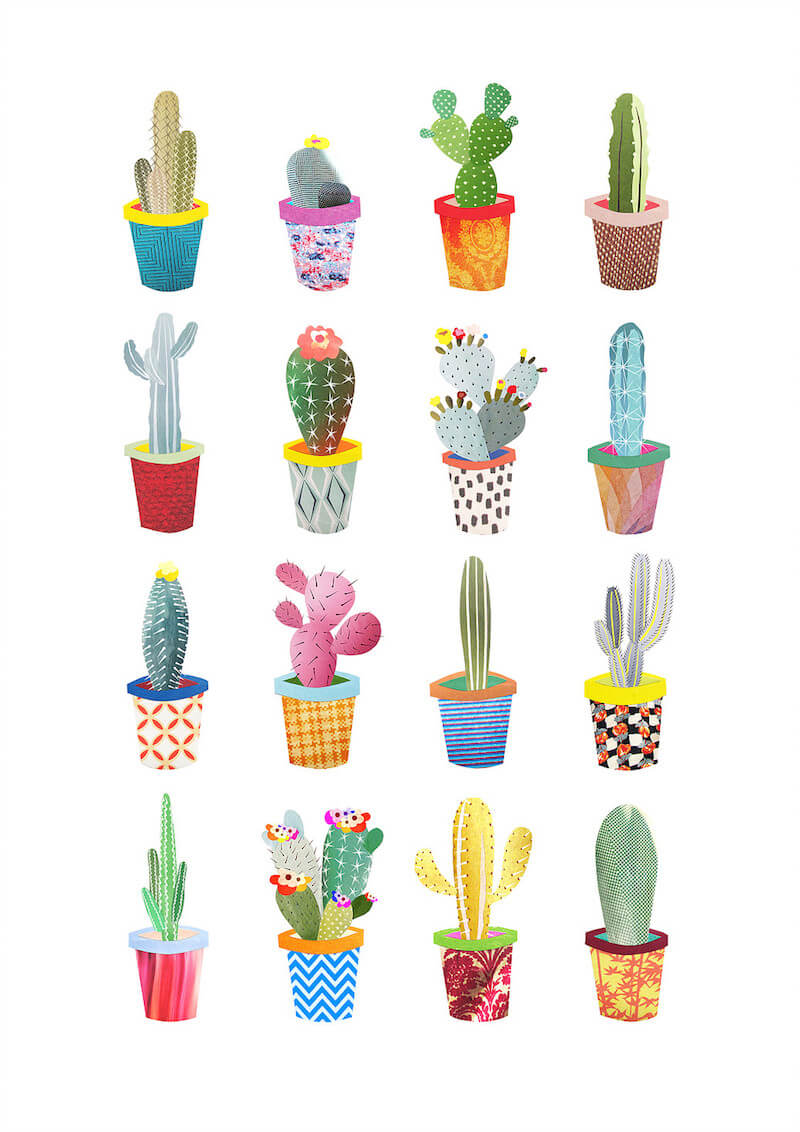 Snippet Art Cacti Pots Collection Print