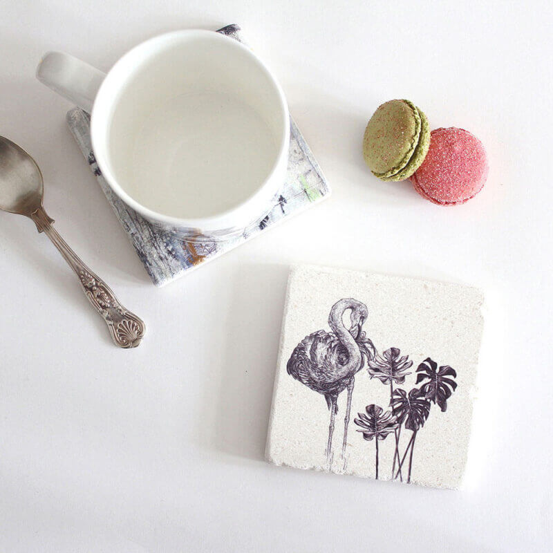 Caribbean-Flamingo-Natural-Stone-Coaster-Sky-Siouki