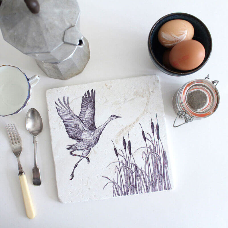 Sandhill-Crane-Natural-Stone-Placemat-Sky-Siouki