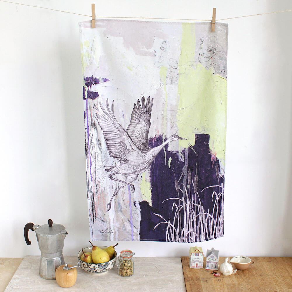 Sandhill-Crane-Tea-Towel-Sky-Siouki