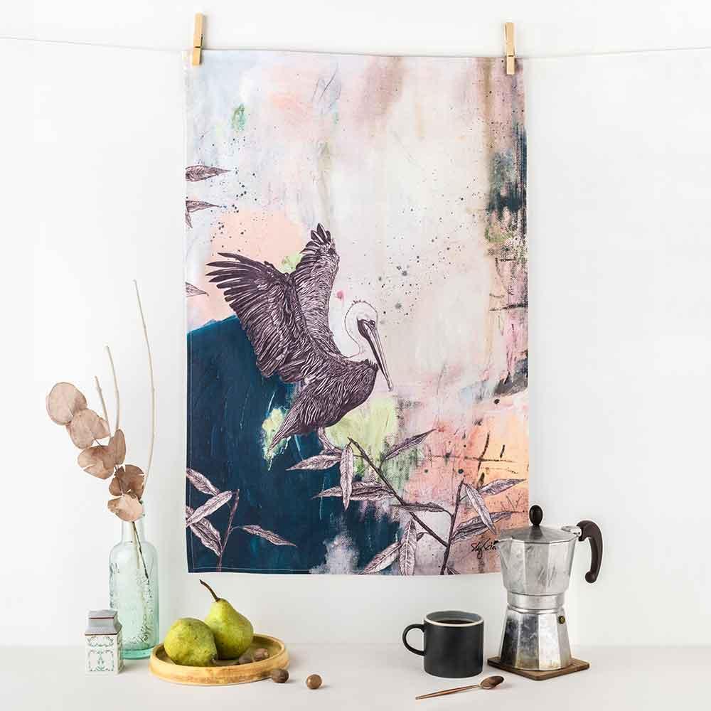 Brown-Pelican-Tea-Towel-Sky-Siouki