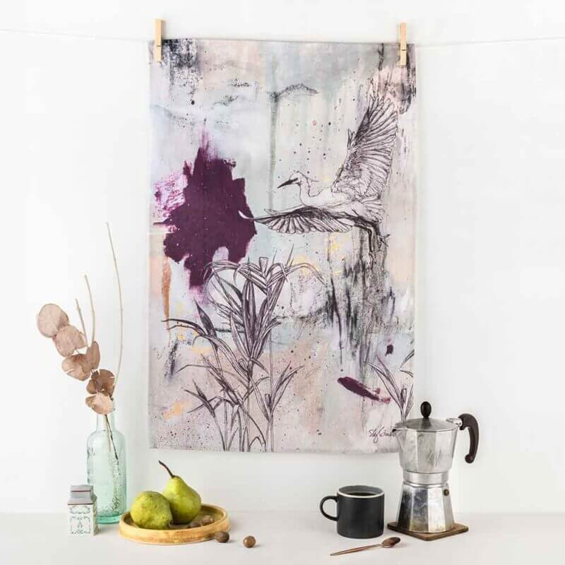 Little-Egret-Tea-Towel-Sky-Siouki