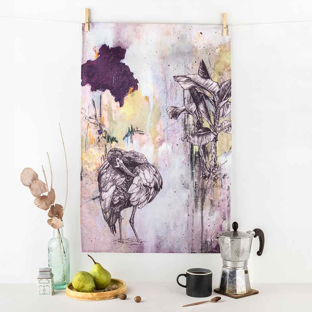 White-Faced-Ibis-Tea-Towel-Sky-Siouki