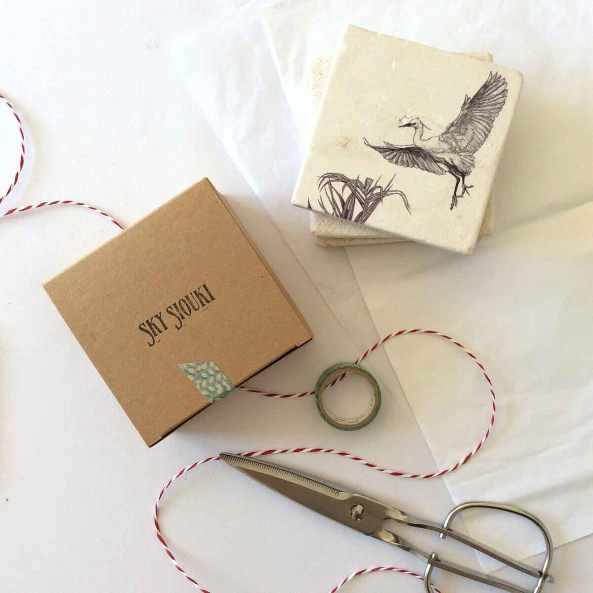 Little-Egret-Natural-Coaster-Giftbox-Sky-Siouki