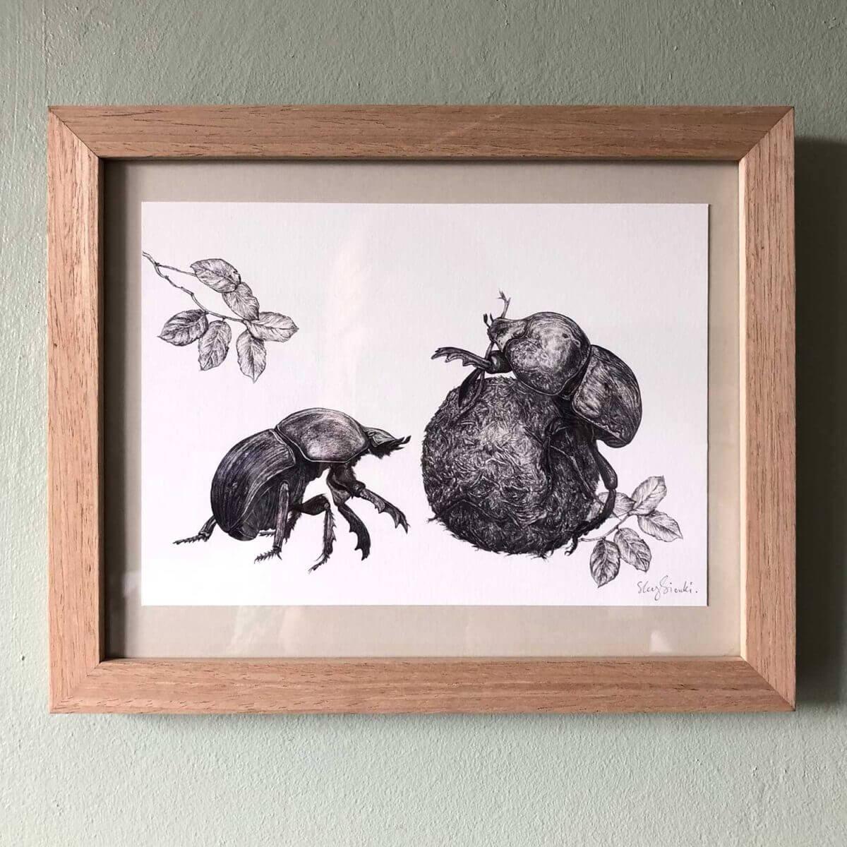 Dung-Beetle-Print-Frame-Sky-Siouki